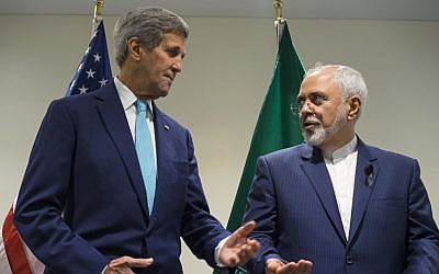 In this photo from Sept. 26, 2015 file photo, Secretary of State John Kerry meets with Iranian Foreign Minister Mohammad Javad Zarif at United Nations headquarters. (AP Photo/Craig Ruttle, File)