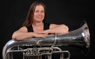 Avital Handler and her tuba, the instrument that has helped her stand out in the local music scene (Courtesy Avital Handler)