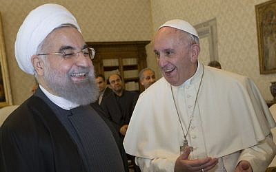 Pope Francis and Iranian President Hassan Rouhani during their private audience at the Vatican, Tuesday, Jan. 26, 2016. (AP Photo/Andrew Medichini, Pool)