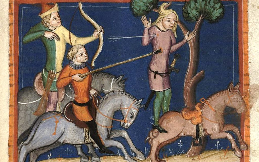 The death of Absalom, hanging from a tree by his hair. 14th-century German miniature (Wikipedia)