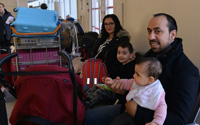Rudy Abecassis and his family at Charles de Gaulle Airport preparing to fly to Israel, Dec. 27, 2015. (Cnaan Liphshiz/JTA)
