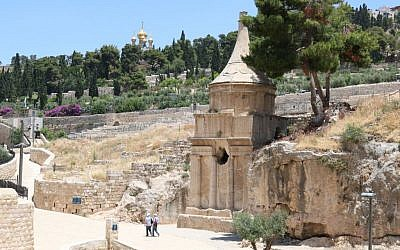 Absalom's Tomb with the Church of St. Mary Magdalene in the background, Kidron Valley, Jerusalem (Shmuel Bar-Am)