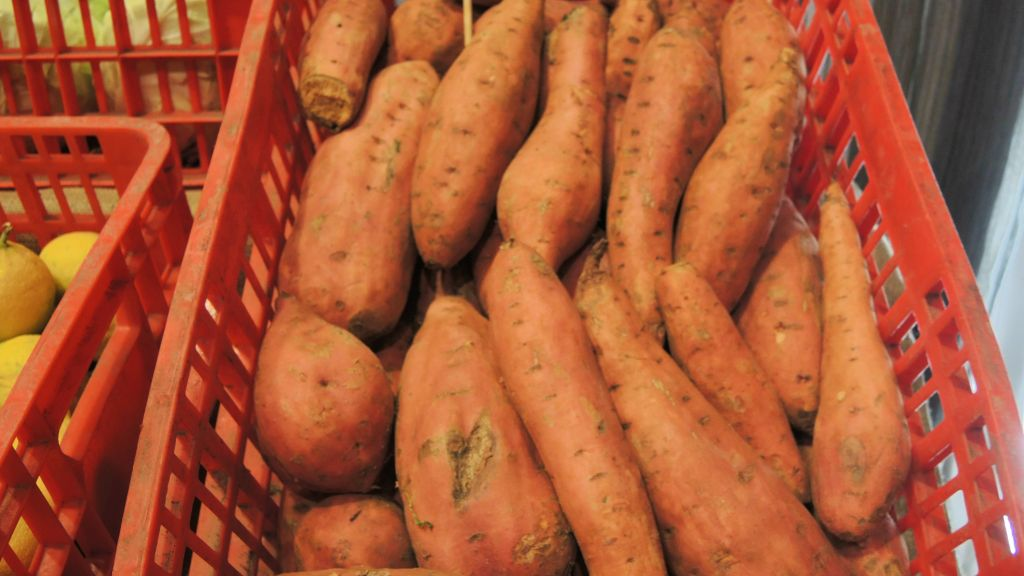 """Rescued"" sweet potatoes that have cosmetic issues, meaning they would not have made it to supermarket shelves. (Melanie Lidman/Times of Israel)"