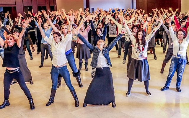 Participants in an Israel trip aimed at Jewish mothers sponsored by the Jewish Women's Renaissance Project. (Aviram Waldman/JTA)