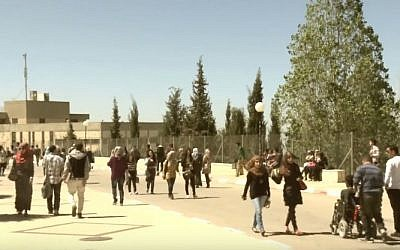 Students at Birzeit University, north of Ramallah (YouTube screenshot)