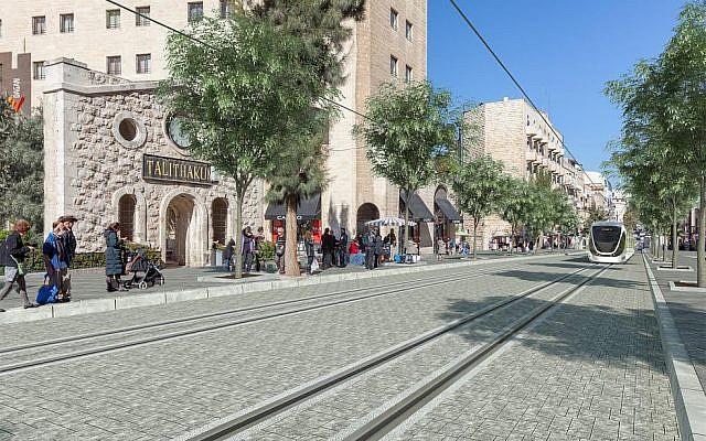 A artist's rendering of the planed Blue Line of the Jerusalem light rail system (Jerusalem Municipality)