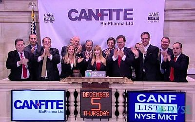 Can-Fite corporate official at the New York Stock Exchange December 4, 2014, the day the stock began trading on the NYSE (Courtesy)