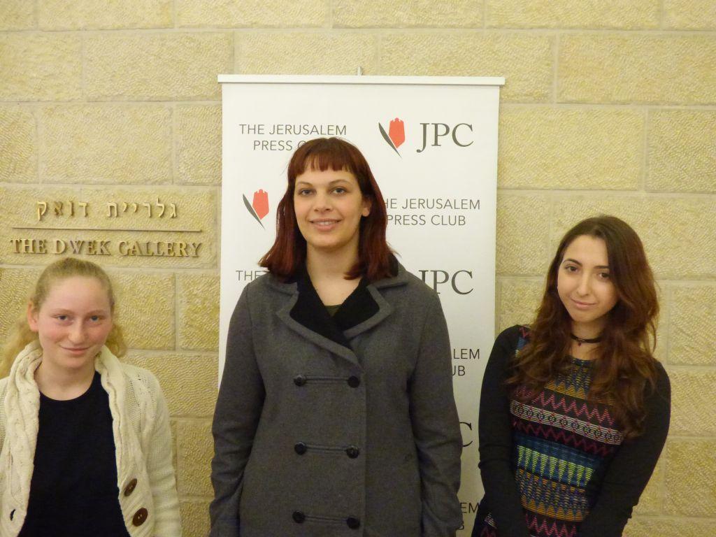 The three winners of the cartoon contest, Hava Herman (left), Yosepha Yaakobowitz and Amit Katz (Eliana Block/Times of Israel)