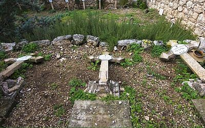 Vandals desecrated the Christian cemetery at the Beit Jamal Monastery near Beit Shemesh, the Latin Patriarchate of Jerusalem said on January 9, 2016. (Latin Patriarchate's Media Office)