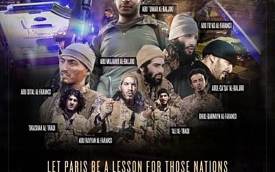 A tribute to the terrorists who carried out the terror attack in Paris on November 13, as published in Dabiq, an Islamic State publication. (Screen capture Dabiq)