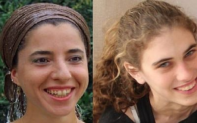 Dafna Meir (L), a 38-year-old mother of six, was stabbed to death in her home in Otniel by a Palestinian terrorist on January 17, 2016. Shlomit Krigman, 23, was stabbed and badly wounded in a terror attack in the West Bank settlement of Beit Horon on January 25, 2016, and died of her wounds a day later. (Courtesy/Facebook)