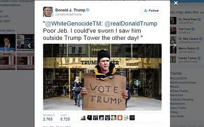 GOP front runner Donald Trump retweets a post mocking GOP candidate Jeb Bush from an account called 'White Genocide,' which gives its location as 'Jewmerica,' on January 22, 2016. (screen capture: Twitter)