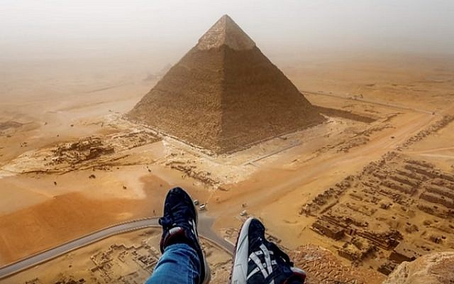 The view from atop of the Cheops Pyramid in Giza taken by German tourist  Andrej Ciesielski , who scaled the structure illegally. (screen capture: YouTube)