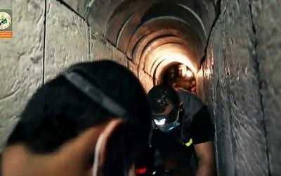 Still from an August 2015 Hamas video purporting to show a tunnel dug under the Israel border (Ynet screenshot)