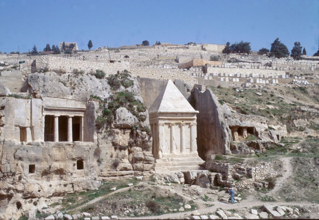 Zechariah's Tomb, with the Hezir complex to the left, Kidron Valley, Jerusalem (Shmuel Bar-Am)