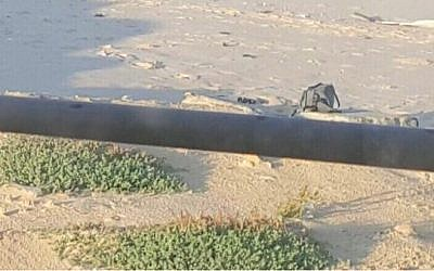 Photo shared by the IDF shows what the army says is an explosives device that Palestinian operatives attempted to place at the border between Israel and the Gaza Strip on Wednesday, January 13, 2016. (IDF spokesperson)