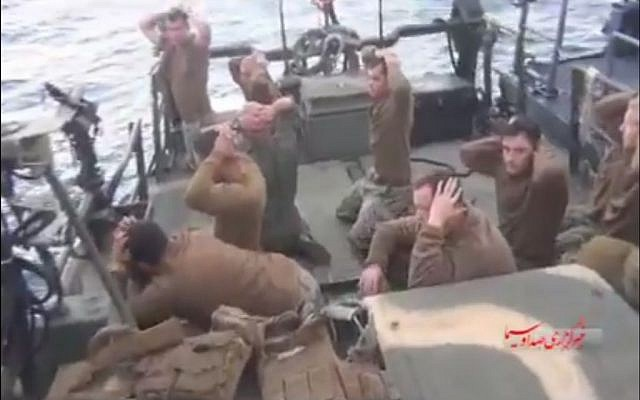 US soldiers being detained by Iranian forces, in a video released on January 13, 2016 (screen capture: Twitter)