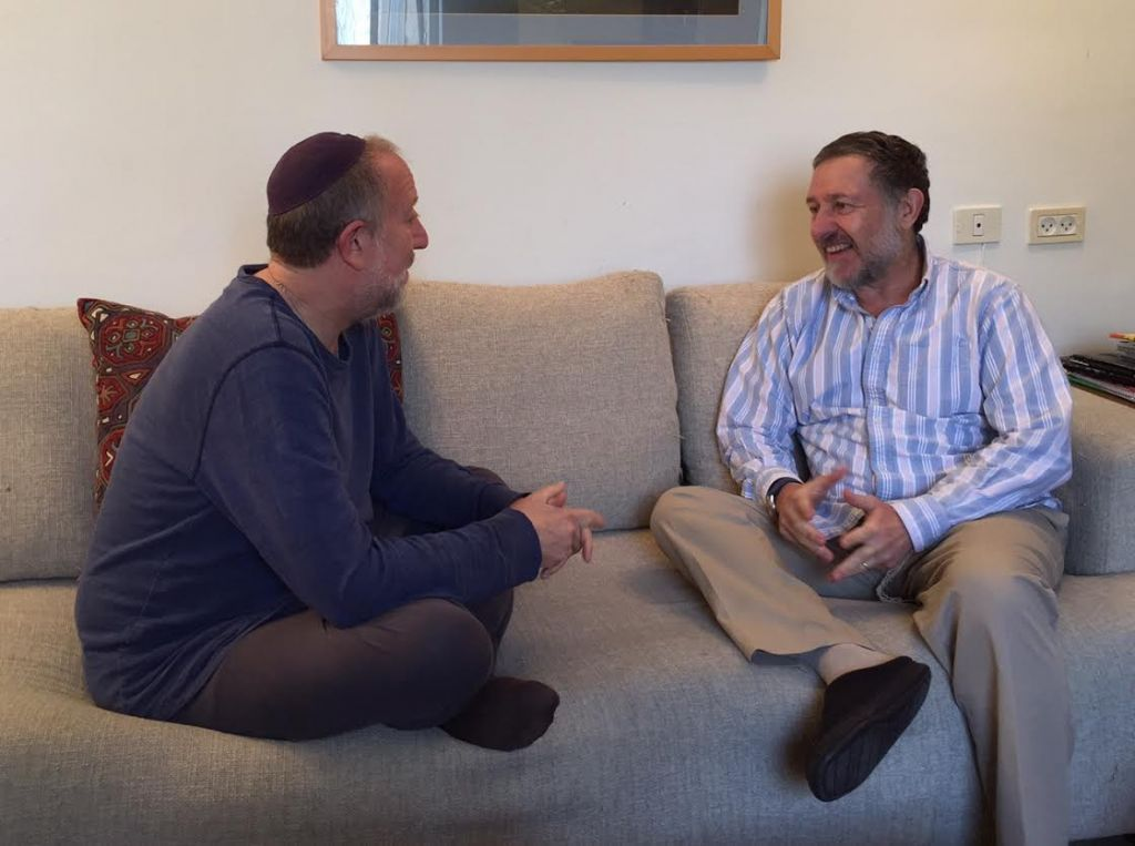 Yossi Klein Halevi (left) in conversation with Yoel Glick (Sarah (Halevi)