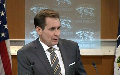 US State Department spokesman John Kirby delivering the department's daily press briefing, January 19, 2016. (screen capture/US State Department website)