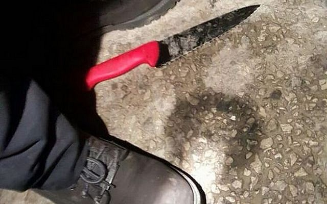 A knife used in a Palestinian stabbing attack in Givat Ze'ev on Wednesday, January 27, 2016 (Foreign Ministry/Twitter)