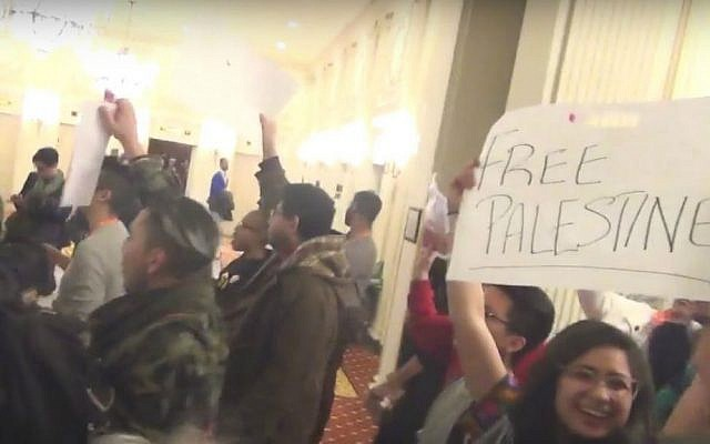 Anti-Israel protesters disrupt an event with the Jerusalem Open House at the LGBTQ Task Force's Creating Change Conference in Chicago, Friday, January 22, 2016. (YouTube screenshot)