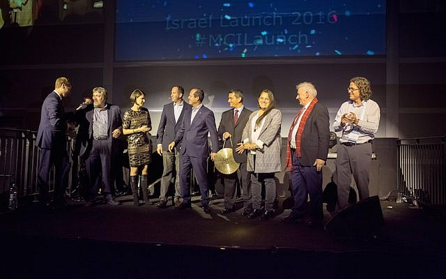 Israeli tech executives and government officials inaugurate the new MassChallenge program in Jerusalem, January 25, 2016 (Hanan Bar-Assulin)