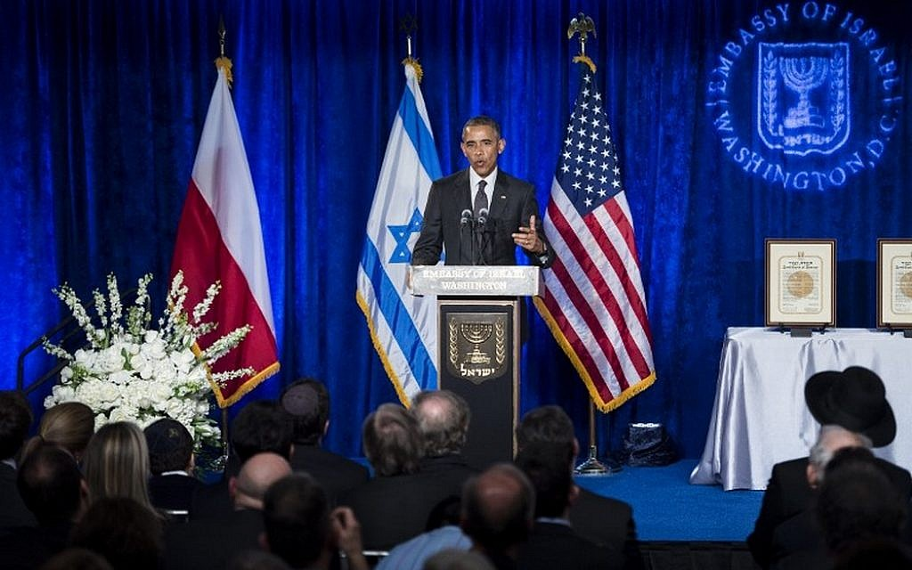 US President Barack Obama speaks during the Righteous Among the Nations Award Ceremony at the Israeli Embassy January 27, 2016 in Washington, DC. / AFP / Brendan Smialowski