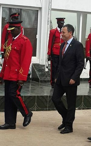 Israel's ambassador to Gambia Paul Hirschson inspects an honor guard in Gambia's capital Banjul, January 12, 2016. (Courtesy Israel Embassy, Dakar)