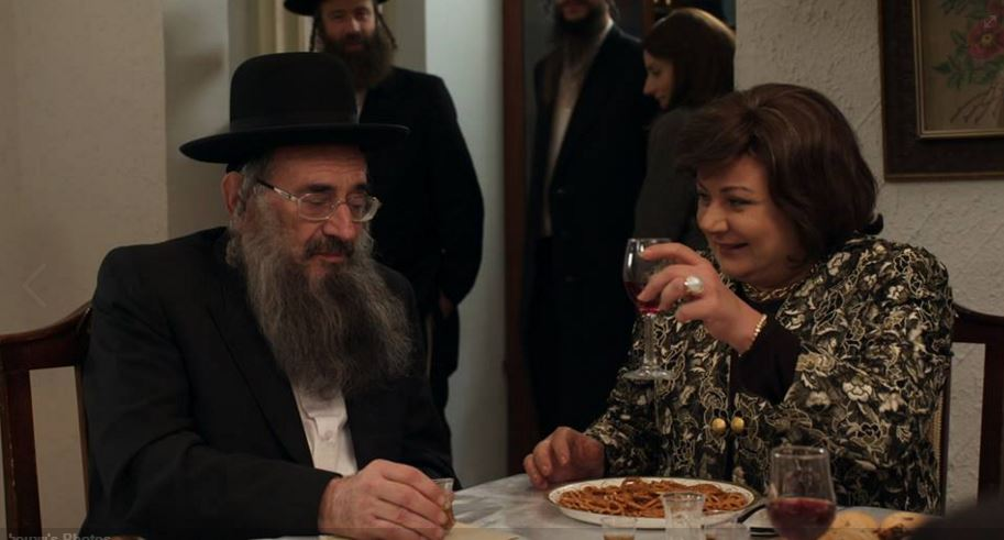 'Shtisel' character Shulem Shtisel with his new love interest, actress Hana Laszlo (Courtesy 'Shtisel')