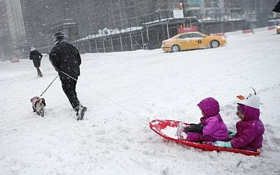 New York's Central Park, on January 23, 2016, when a deadly blizzard -- with bone-chilling winds and potentially record-breaking snowfall -- slammed the eastern US. (AFP/Kena Betancur)