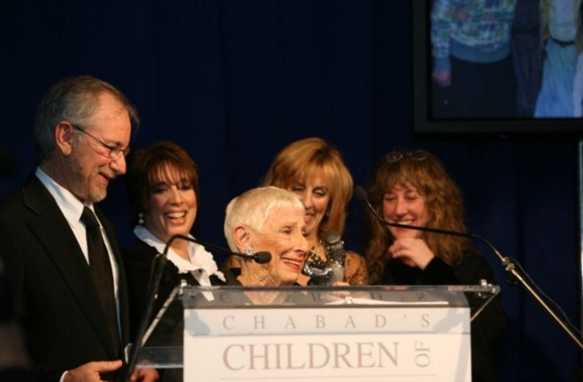 The Spielberg siblings, Steven (left), Sue, Nancy and Anne with their mother, xx, at a fundraiser for Children of Chernobyl, which Nancy Spielberg founded (Courtesy Nancy Spielberg)