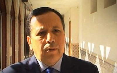Tunisian Foreign Minister Khemaies Jhinaoui (screen capture: Dailymotion)