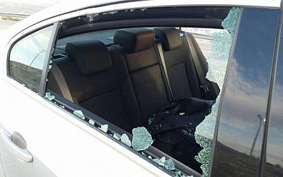 Yesh Atid MK Haim Jelin's car, hit in a stone-throwing attack (Courtesy)