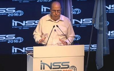 Defense Minister Moshe Ya'alon speaks at the INSS conference on January 19, 2015 (Youtube screenshot)