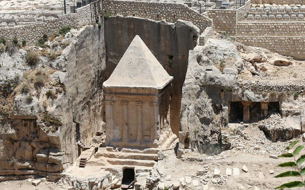 Zachariah's tomb, and possible crypt, Kidron Valley, Jerusalem (Shmuel Bar-Am)