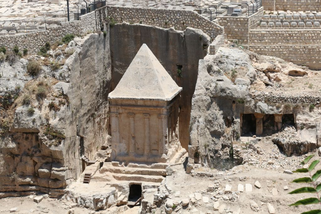 Zechariah's tomb, and possible crypt, Kidron Valley, Jerusalem (Shmuel Bar-Am)