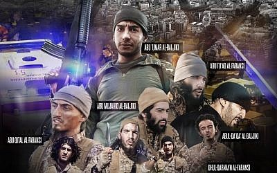 A page from Dabiq shows the terrorists involved in the Paris attacks on November 13. Two of the men in the picture were unknown to Belgian prosecutors. (Screen capture Dabiq)