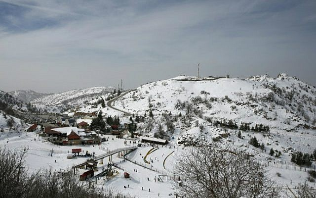 A picture taken on January 21, 2016, shows the Mount Hermon ski resort on the Golan Heights. (Thomas Coex/AFP)