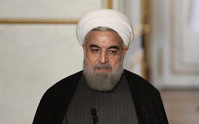 Iranian President Hassan Rouhani at the Elysee presidential Palace in Paris, January 28, 2016. (AFP/Stephane De Sakutin)