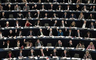 Illustrative: Members of the European Parliament take part in a voting session at the European Parliament in Strasbourg, France, on February 2, 2016. (AFP/Frederick Florin)