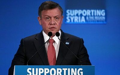 Jordan's King Abdullah II speaks during a donor conference in central London on February 4, 2016. AFP / POOL / Dan Kitwood)