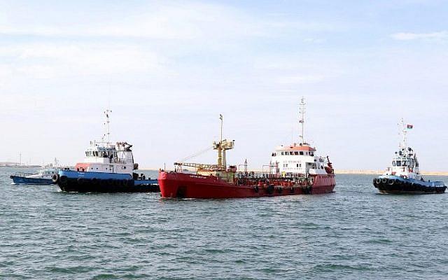 Illustrative: An oil tankers seen near Tripoli, off the coast of Libya on February 13, 2016. (Mahmud Turkia/AFP)