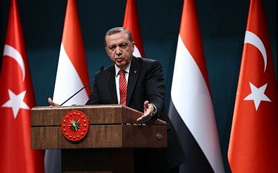 Turkish President Recep Tayyip Erdogan addresses a joint press conference with Yemen's president at the presidential complex in Ankara on February 16, 2016. (AFP / ADEM ALTAN)
