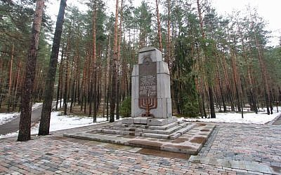 The Vilnius PANERIAI memorial in memory of the 70000 Jews of Vilnius and its environs killed by Nazis and their accomplices during World War II, February 16, 2016. (AFP/Petras Malukas)