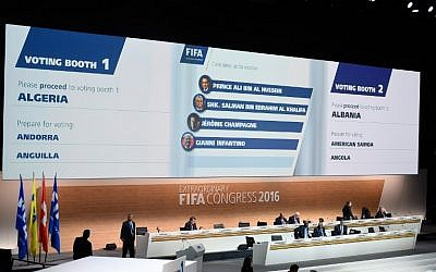 A monitor displays the names of the FIFA presidential candidates (from top) Prince Ali bin al-Hussein, Sheikh Salman bin Ebrahim al-Khalifa, Jerome Champagne and Gianni Infantino during an extraordinary FIFA Congress at the headquarters of the world's governing body of soccer in Zurich on February 26, 2016. (AFP/OLIVIER MORIN)