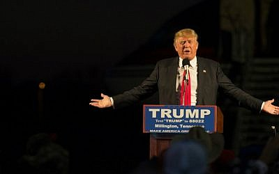 Republican presidential candidate Donald Trump addresses a rally at Millington Regional Jetport on February 27, 2016 in Millington, Tennessee. (Michael B. Thomas/AFP)