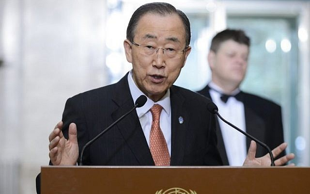 United Nations Secretary General Ban Ki-moon gestures during a press briefing on the sidelines of the main annual session of the United Nations Human Rights Council in Geneva on February 29, 2016. (AFP / FABRICE COFFRINI)