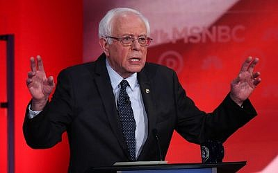 US Sen. Bernie Sanders (I-VT) speaks as he debates with Democratic presidential candidates former Secretary of State Hillary Clinton during their MSNBC Democratic Candidates Debate at the University of New Hampshire on February 4, 2016 in Durham, New Hampshire. ( Justin Sullivan/Getty Images/AFP)