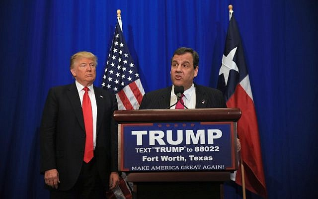 New Jersey Governor Chris Christie announces his support for Republican presidential candidate Donald Trump during a campaign rally at the Fort Worth Convention Center on February 26, 2016, in Fort Worth, Texas. (Tom Pennington/Getty Images/AFP)