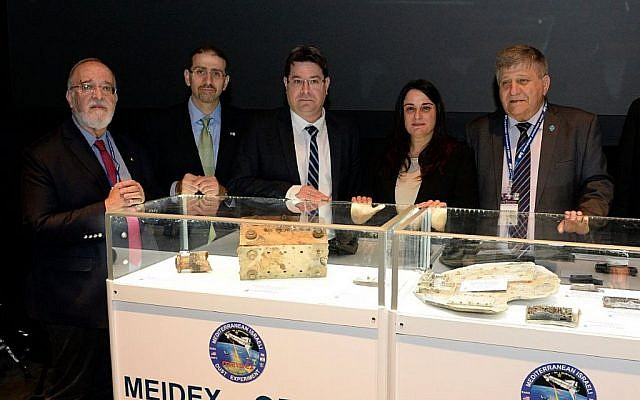 From left, Yitzhak Ben Israel, US Ambassador Dan Shapiro, minister Ofir Akunis, and Rona Ramon, at the opening of a space exhibit on February 2,  2016. (US Embassy)